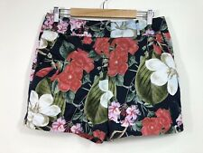 Portmans Floral Shorts L/14 Multicoloured High Waisted Zip Up Back Casual