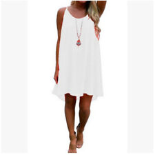 Women Summer Crew Neck Sleeveless Halter Dress Solid Grid Casual Loose Sundress