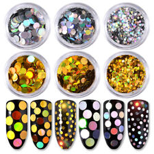6 Colors Shiny Round Sequins Holo Nail Art Glitter Tips UV Gel Decoration