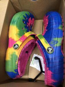 Crocs Kids Size 5 Junior Classic Tie Dye Graphic Fuzzy Electric Pink/Multi New