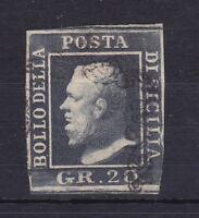 ROW142) Italian States: Sicily 1859  King Ferdinand II 20gr grey imperf