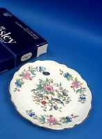 Aynsley Pembroke Crocus Gold Trim Round Cake Serving Plate 8 Inch Scalloped Edge