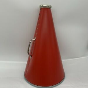 Red Riveted Plastic Cheerleader Megaphone 15 Inches Long 10 Inch Bell