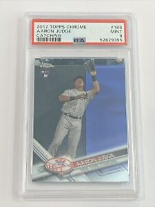 2017 Topps Chrome Aaron Judge Catching #169 RC Rookie Mint PSA 9 Yankees