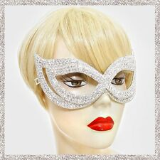 Cat Eye Crystal Rhinestone Pave Face Mask Masquerade Party Costume Ball Prom New