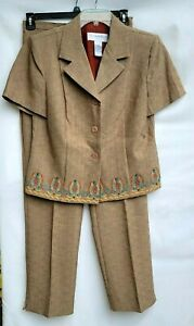 Sag Harbor Womens Size 12 Pant Suit Brown Embroidered Trim Polyester
