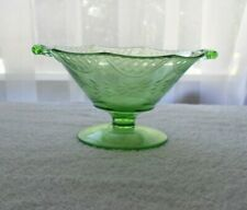Vintage Green Depression Glass Open Handled Decagon Footed Etched Compote/Candy