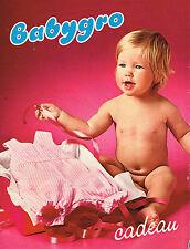 PUBLICITE ADVERTISING 025  1979  BABYGRO  cadeau layette vetements bébé