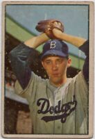 1953 Bowman Color #14 Billy Loes Low Grade Crease Brooklyn Dodgers FREE SHIPPING