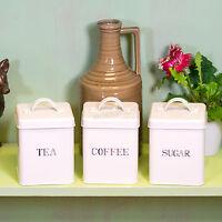 Set of Vintage Tea Coffee Sugar Canisters Storage Jars Cream Kitchen Accessories
