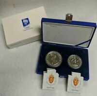 1991 Norway 50 100 Kroner Silver Coin 2 pc 1994 Olympic Set Speed Skating Skiing