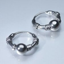 Silver huggies solid stainless steel earrings round ball bead 16mm