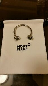 MONTBLANC Stainless Steel key ring C shape with black onyx insert- Brand New
