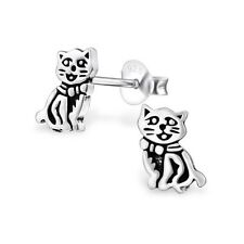 Sterling Silver 925 Detailed Cat Stud Earrings