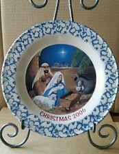Henn pottery 2006  blue spongeware Christmas plate Nativity Scene