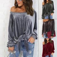Women's Lady Loose Velvet Long Sleeve Casual Blouse Shirt Tops Fashion Blouse