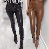 US Women Vinyl PVC Wet Look Shiny Disco Elasticated High Waist Leggings Pant