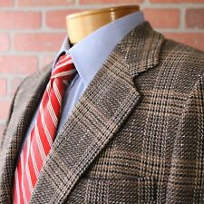 Simon Ackerman Silk Wool Brown Plaid Tweed Sportcoat Blazer Jacket 40R England