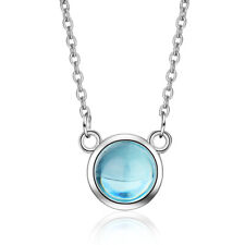Fashion Solid 925 Sterling Silver Blue Aurora Crystal Round Pendant Necklace