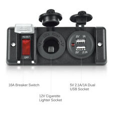 Universal Breaker Switch Panel Dual USB Car Charger Cigarette Lighter Socket LED