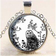 Owls Birds Wildlife Moon Cabochon Tibetan silver Glass Chain Pendant Necklace