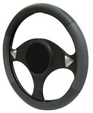 GREY/BLACK LEATHER Steering Wheel Cover 100% Leather fits SSANGYONG