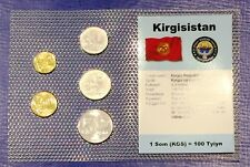 Kyrgyzstan 10t - 5 som 2008 XF UNC Circulation Coin Set - World Currencies