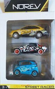 Lot de 3 Voitures Miniatures NOREV .Street racer. 3inches 7cm.Neuf dans sa boite