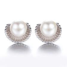 Fashion Ladies 925 Sterling Silver Sea Shells Freshwater Pearl Ear Stud Earrings