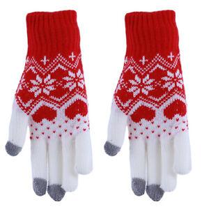 Women Cashmere Thermal Elegant Gloves Winter Vintage Snowflake Print Gloves YG