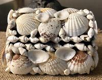 """White Seashell Jewelry Treasure Chest Box~Sand Finish,Starfish,Shells~6/""""X4/""""X2/"""""""