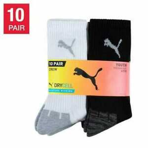 Puma Boy's Youth Crew Socks, 10-pair (Select Size: M-L) * FAST SHIPPING *