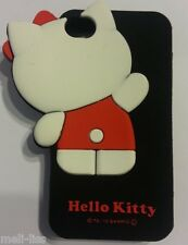Hello Kitty-Soft Rubber 3D Black Cover Case Silicone Skin for iPhone 4-4S