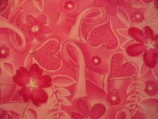 BREAST CANCER HEARTS FLOWERS PINK RIBBONS COTTON FABRIC BTHY