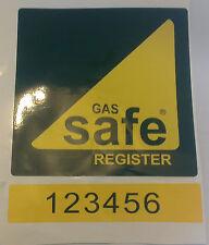 GAS sicuro registro adesivo segno con il numero di registrazione 150mm Wide