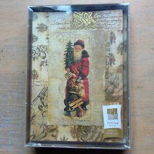 Sunrise Greetings 17 Christmas cards & envelopes Santa Claus toys vintage image
