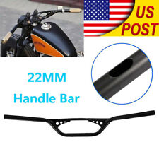 "7/8"" Black 22MM Drag Bar Handlebar For Honda Bobber Bike Motorcycle ATV Custom"