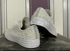 Wedding Converse, All White with white Pearls & AB crystal, all sizes available