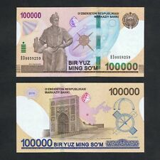 New listing 2019 Uzbekistan 100,000 100000 Som P-New Unc > Mirzo Ulug'Bek Statue Samarkand