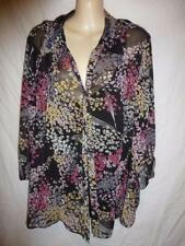 Plus Floral Button Down Shirt 3/4 Sleeve Tops & Blouses for Women