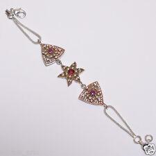 Pink ruby green emerald  white topaz turkish bracelet .925 silver  B-67