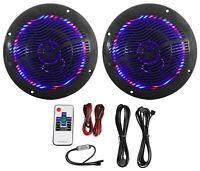"Rockville RMC65LB 6.5"" 600w 2-Way Black Marine Speakers w/Multi Color LED+Remote"
