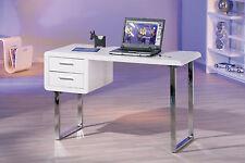 Bureau meuble informatique tiroirs rectangulaire design moderne BLANC BRILLANT