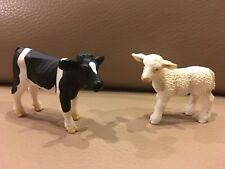 Schleich 2000 Holstein Calf cow & Lamb Sheep Figures Farm Animals Diorama
