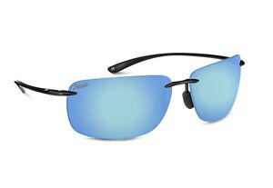 New $90 Hobie Rips Polarized Sport Sunglasses Black Cobalt Blue Mirror
