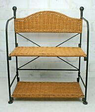 "Vintage Black Wrought Iron & Wicker 2 Tier Folding Stand Up Shelf 22"" Tall"