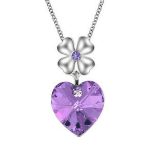 Women'S Silver Heart Charm Purple Crystal Cubic Zirconia Pendant Necklace Gift