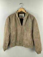 London Fog Men's Vintage Suede Satin Lined Bomber Jacket - Size Small - Brown