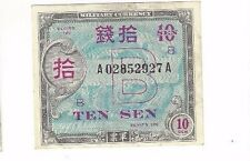 1945 Japanese Philippine Islands Allied Military Govt Military Currency Ten Sen