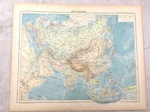 1894 Antique Map of Asia The Far East Physical Old Original 19th Century French